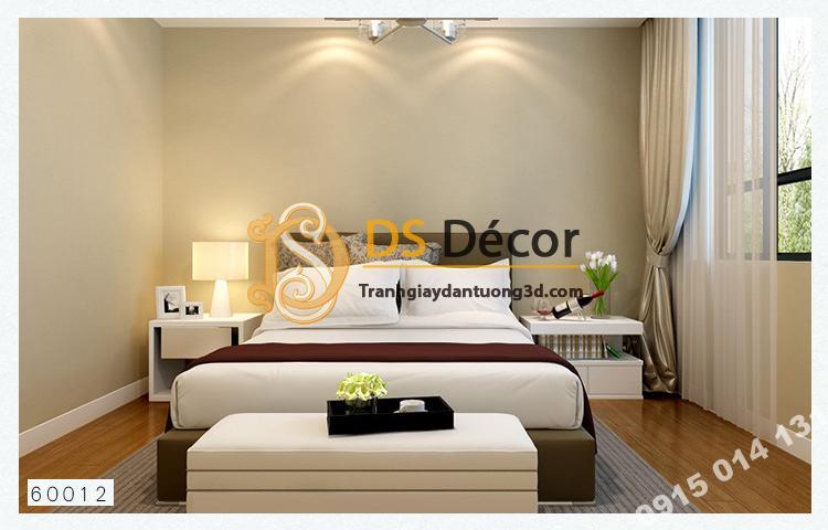 Giấy dán tường một màu trơn nhám PVC vàng nhạt 60012 - 3D330 phòng ngủ
