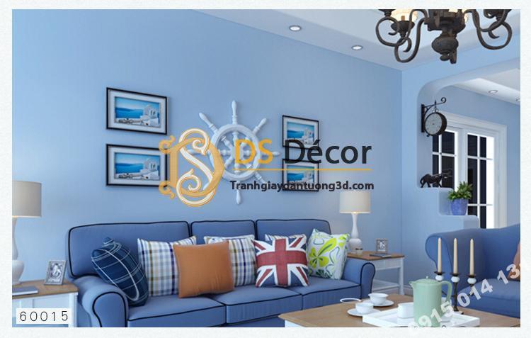 Giấy dán tường một màu trơn nhám PVC xanh dương 60015 - 3D330 phòng khách