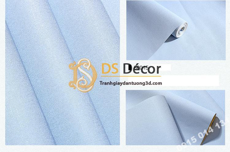 Giấy dán tường một màu trơn nhám PVC xanh dương 60015 - 3D330