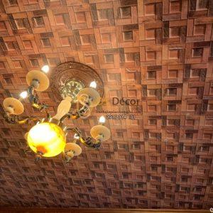 Thi công giấy dán trần giả gỗ 3D234