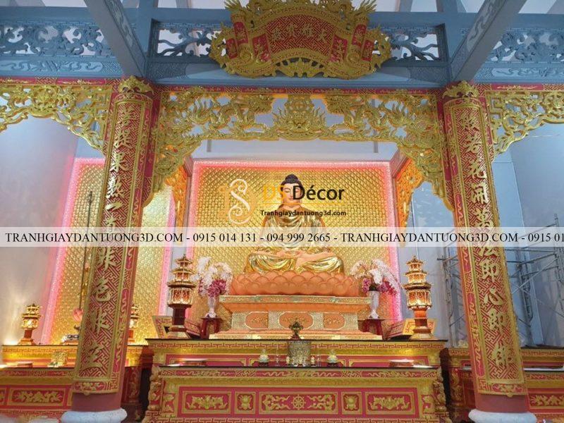 Giấy dán tường vàng cánh sen dán tường đền chùa mã 3D195