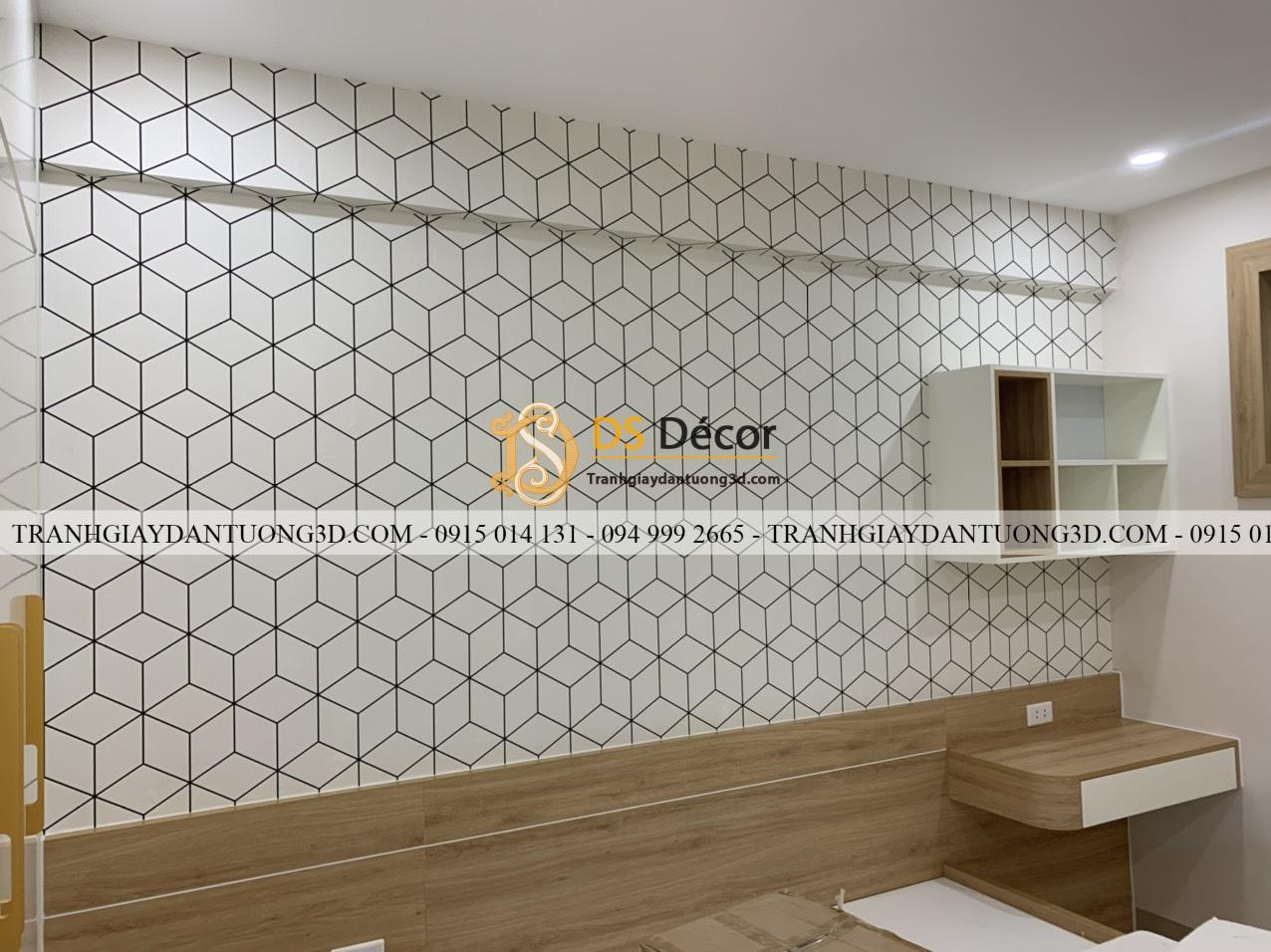 Thi công phòng khách chung cư với mã giấy dán tường khối 3D246