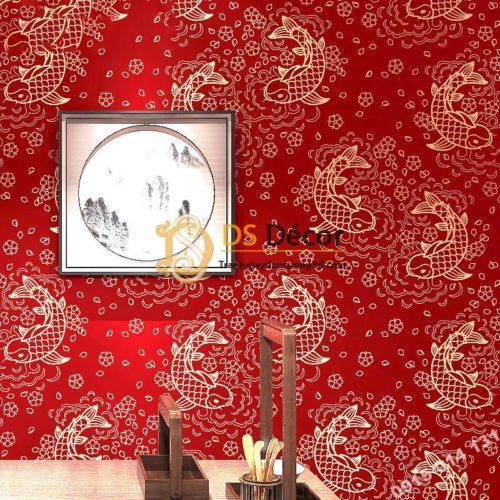 Giấy dán tường cá chép 3D331 phòng thờ