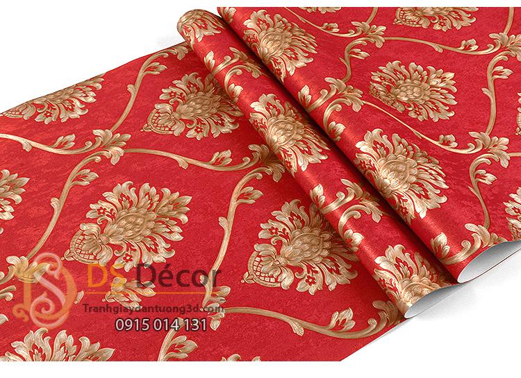 Bề mặt Giấy dán tường hoa Châu âu cổ điển sang trọng 3D333 màu đỏ