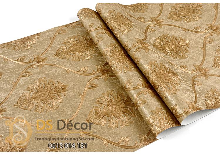 Bề mặt Giấy dán tường hoa Châu âu cổ điển sang trọng 3D333 màu nâu