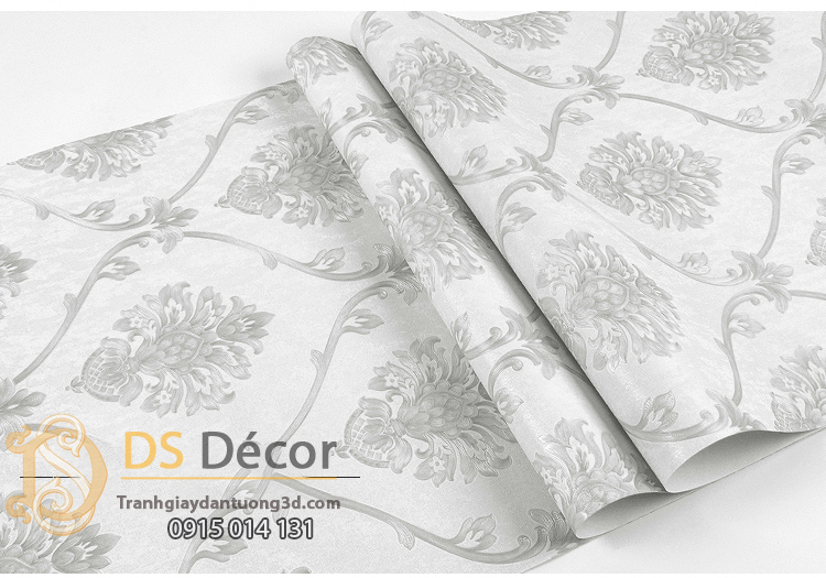 Bề mặt Giấy dán tường hoa Châu âu cổ điển sang trọng 3D333 màu trắng