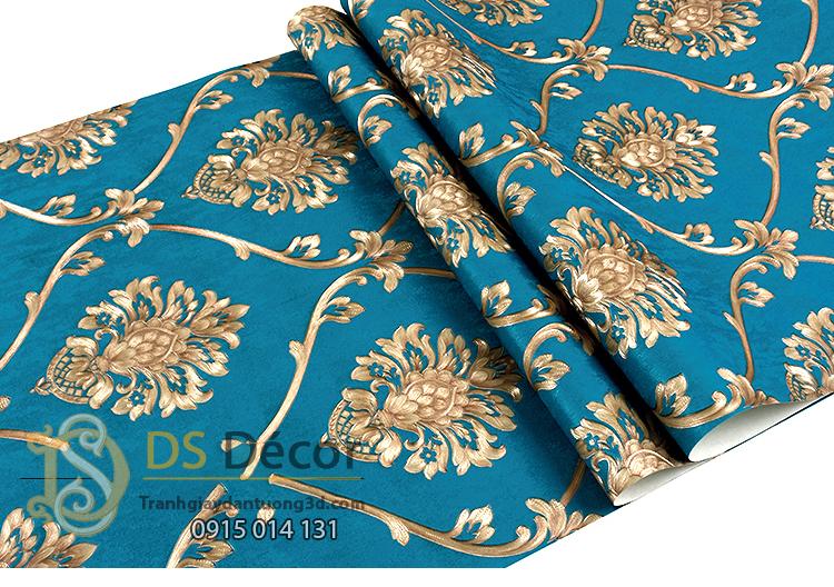 Bề mặt Giấy dán tường hoa Châu âu cổ điển sang trọng 3D333 màu xanh