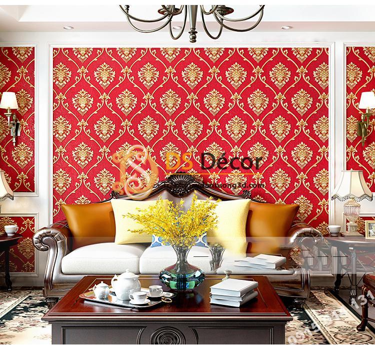 Giấy dán tường hoa Châu âu cổ điển sang trọng 3D333 màu đỏ phòng khách