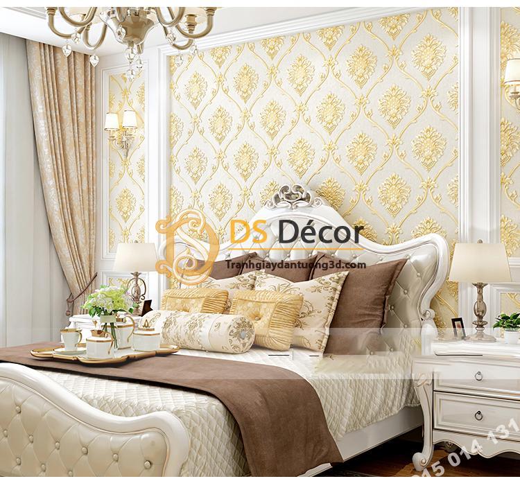 Giấy dán tường hoa Châu âu cổ điển sang trọng 3D333 màu nâu nhạt phòng ngủ