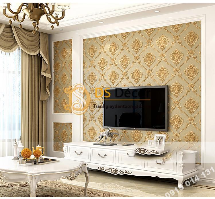 Giấy dán tường hoa Châu âu cổ điển sang trọng 3D333 màu nâu phòng khách