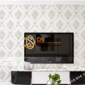 Giấy dán tường hoa Châu âu cổ điển sang trọng 3D333 màu trắng