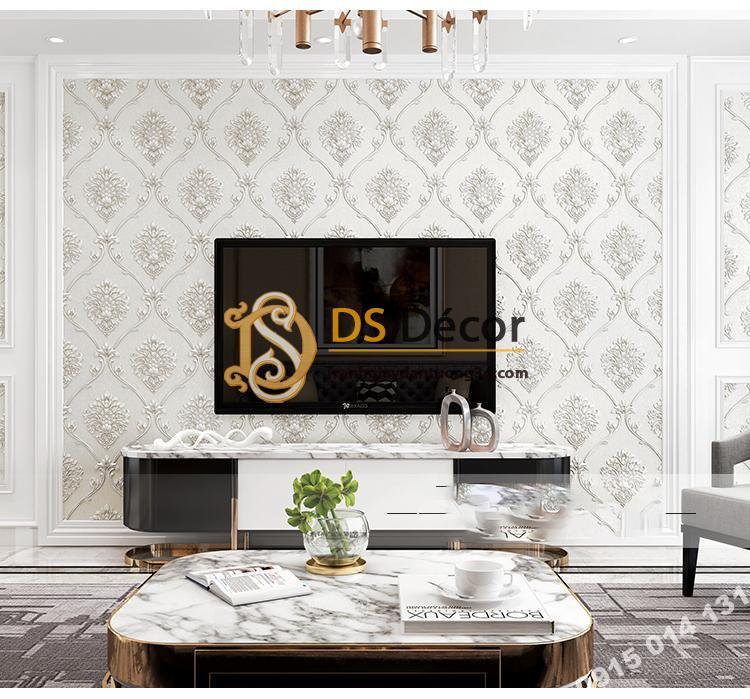 Giấy dán tường hoa Châu âu cổ điển sang trọng 3D333 màu trắng phòng khách