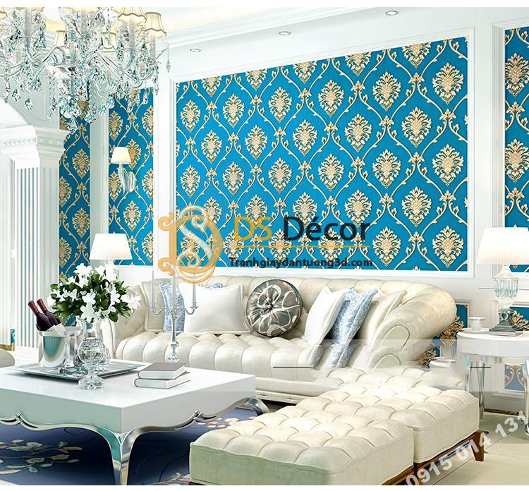 Giấy dán tường hoa Châu âu cổ điển sang trọng 3D333 màu xanh phòng khách