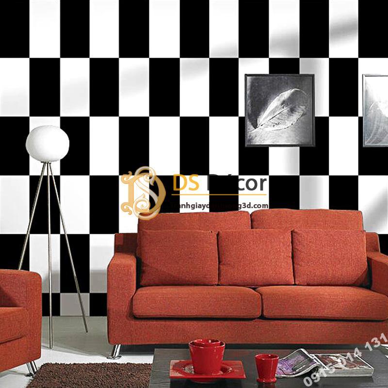 Giấy dán tường ô chữ nhật xen kẽ trắng đen hiện đại