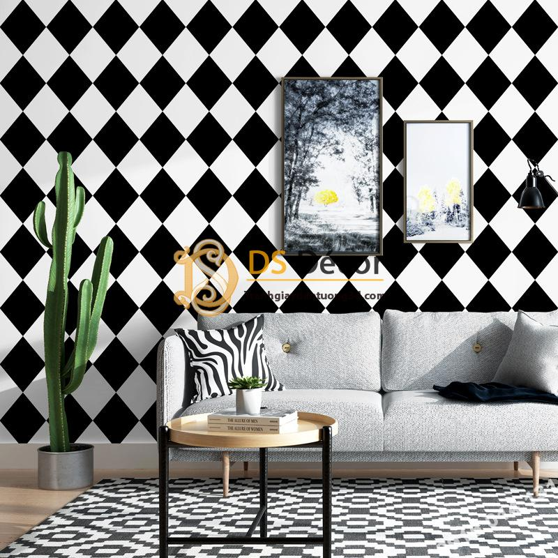 Giấy dán tường con rô trắng đen hiện đại