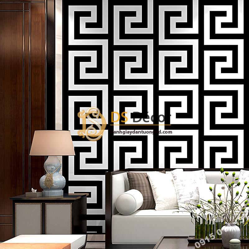 Giấy dán tường móc vuông trắng đen hiện đại