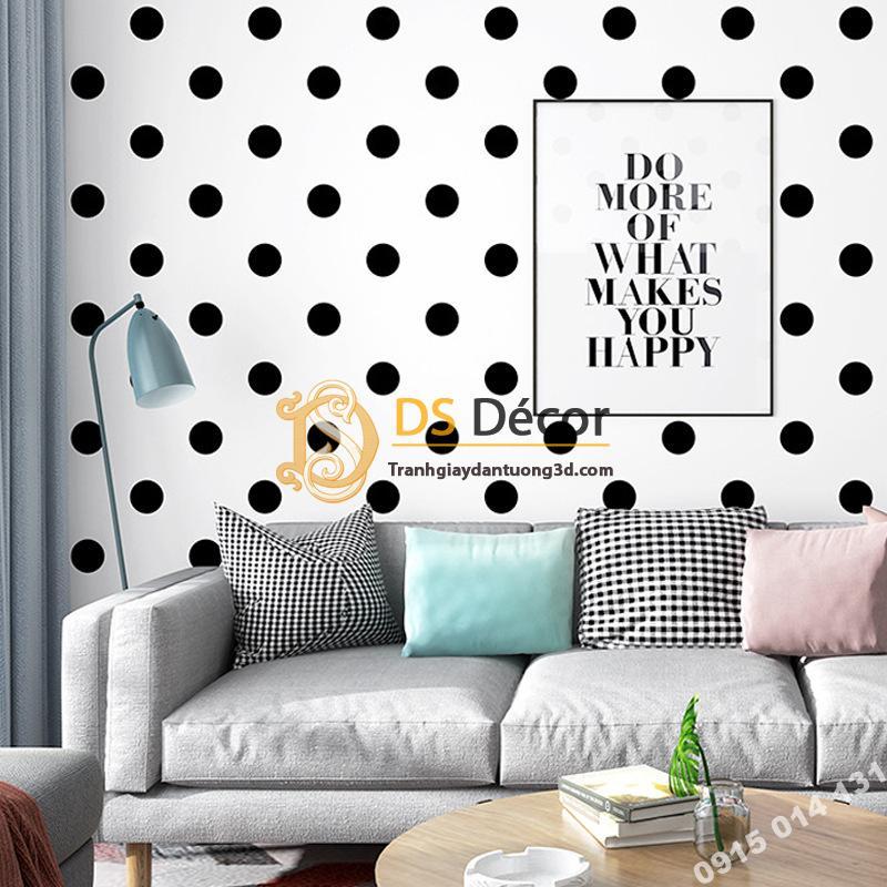 Giấy dán tường chấm bi trắng đen hiện đại
