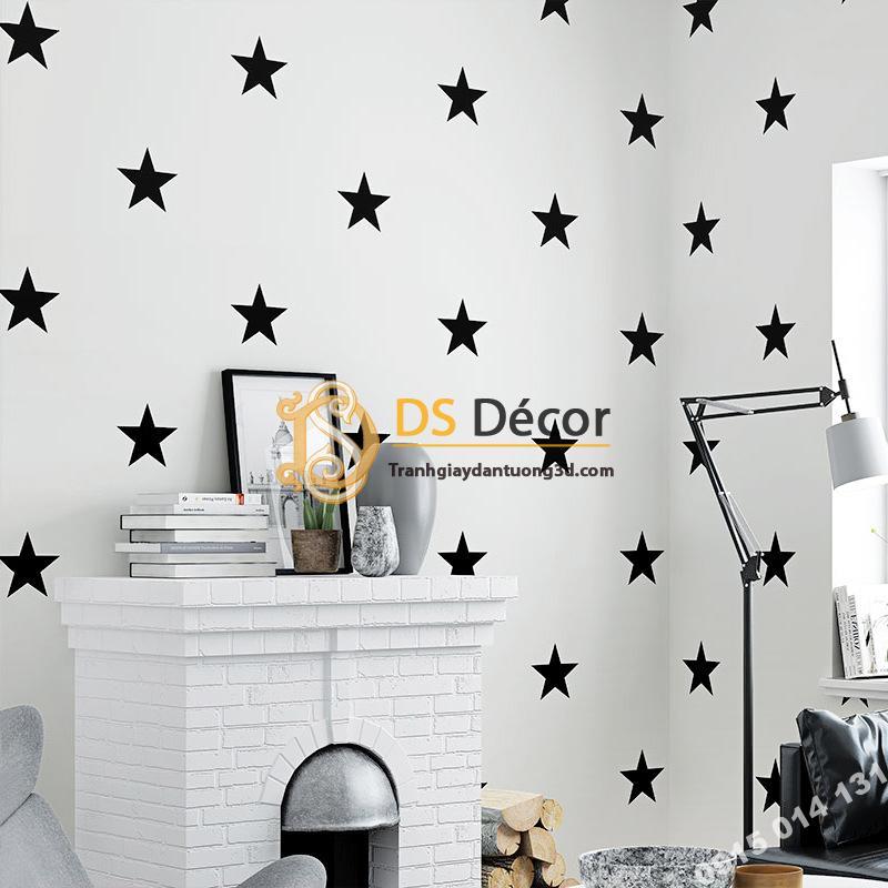 Giấy dán tường họa tiết ngôi sao trắng đen hiện đại