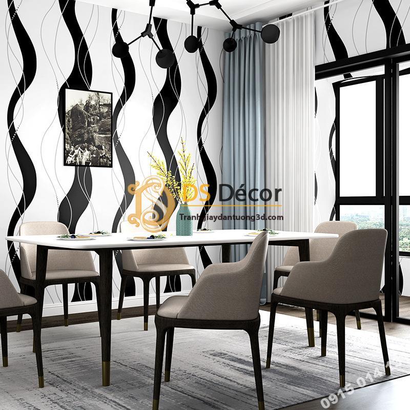 Giấy dán tường lượn sóng trắng đen hiện đại