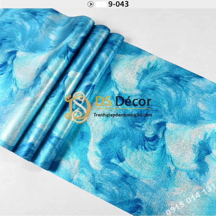 Bề mặt Giấy dán tường mực loang 3D336 tông xanh dương