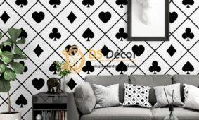 Giấy dán tường họa tiết bài tây trắng đen 3D334
