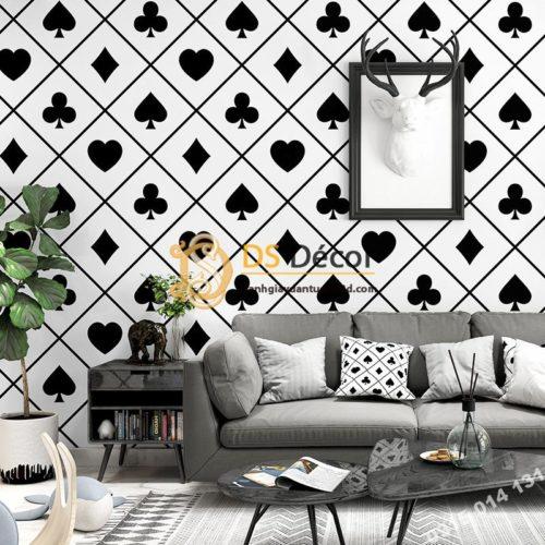Giấy dán tường họa tiết bài tây trắng đen trang trí phòng khách 3D334