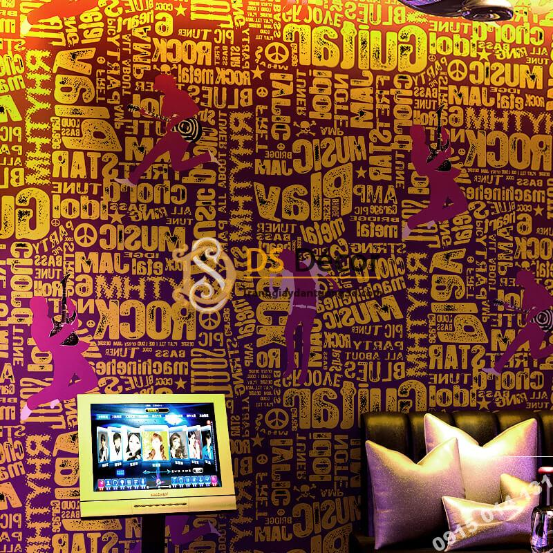 Giấy dán tường karaoke vũ công ban nhạc 3D337 tông vàng
