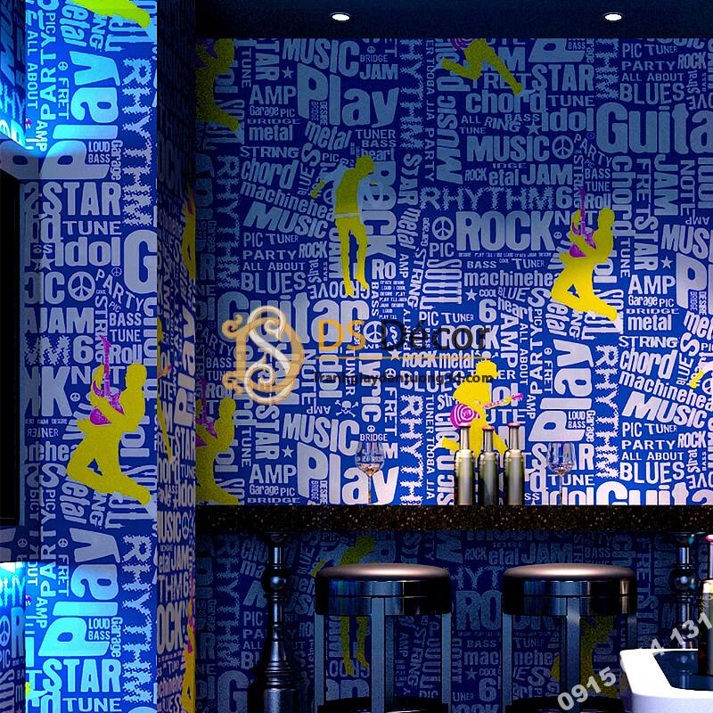 Giấy dán tường karaoke vũ công ban nhạc 3D337 tông xanh