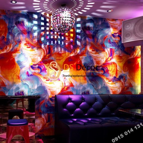 Giấy dán tường mực loang 3D336 tông cam quán karaoke