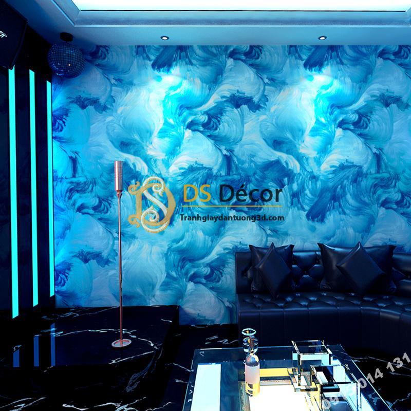 Giấy dán tường mực loang 3D336 tông xanh dương quán karaoke