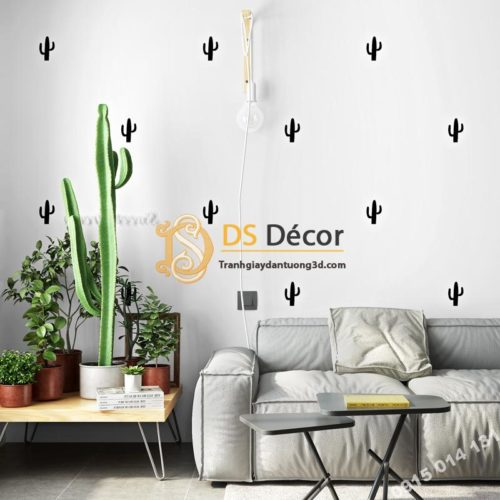 Giấy dán tường xương rồng trắng đen 3D335 trang trí phòng khách