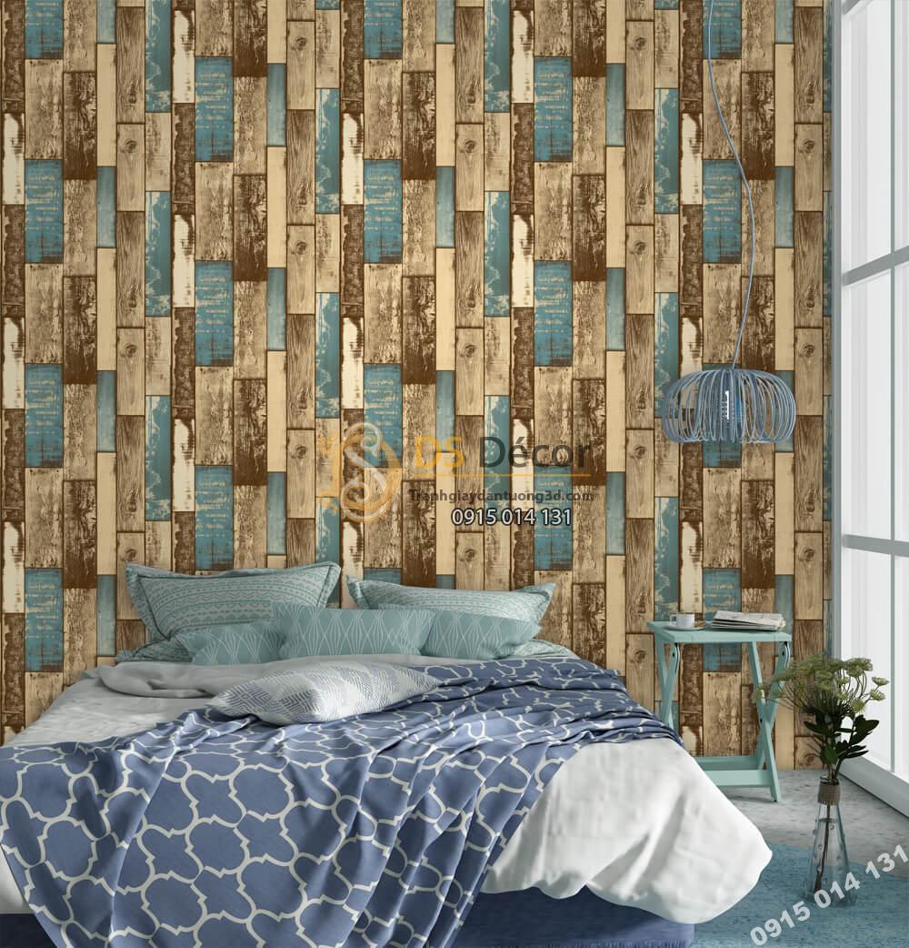Giấy dán tường Hàn QUốc NATURE gỗ xanh vintage 73012-3