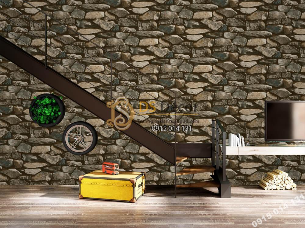 Giấy dán tường Hàn QUốc NATURE giả đá đen rêu 73005-3
