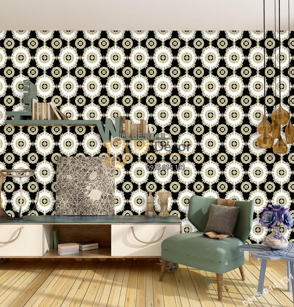 Giấy dán tường Hàn QUốc NATURE họa tiết mai rùa tân cổ điển trắng đen 73013-4