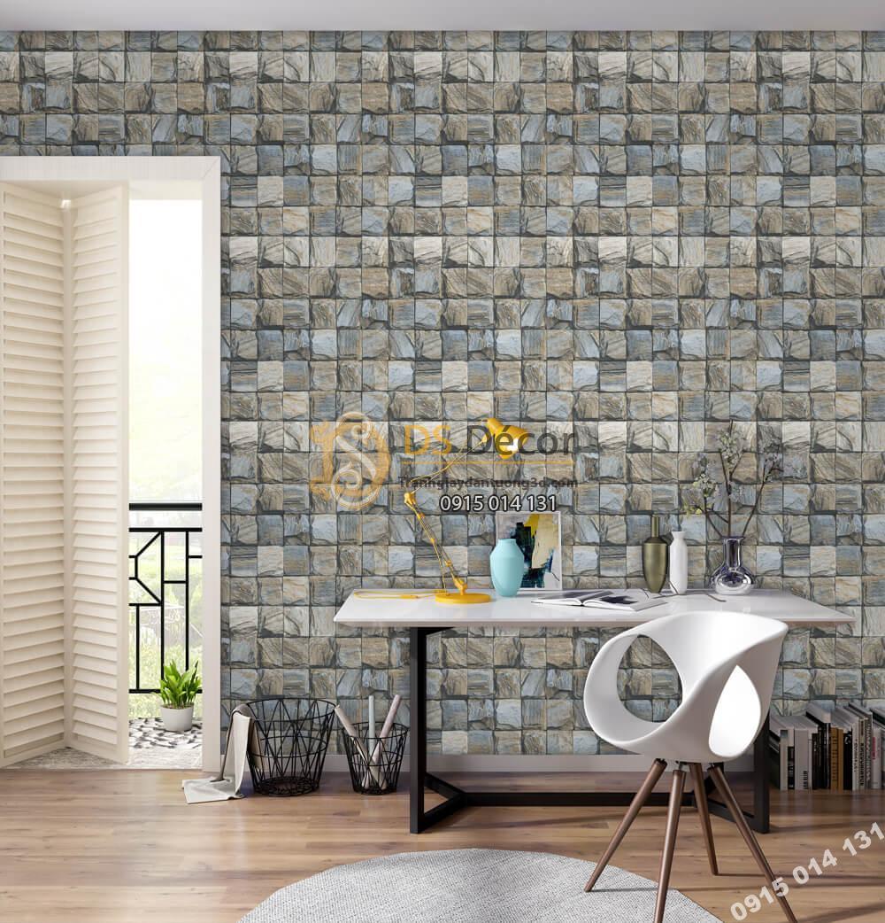 Giấy dán tường Hàn QUốc NATURE khối đá vuông xanh xám 73008-3