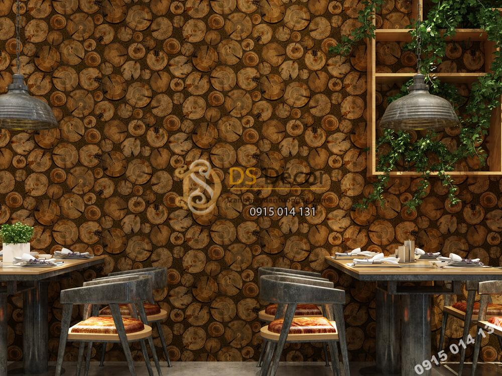Giấy dán tường Hàn QUốc NATURE lát gỗ tròn -73007-4