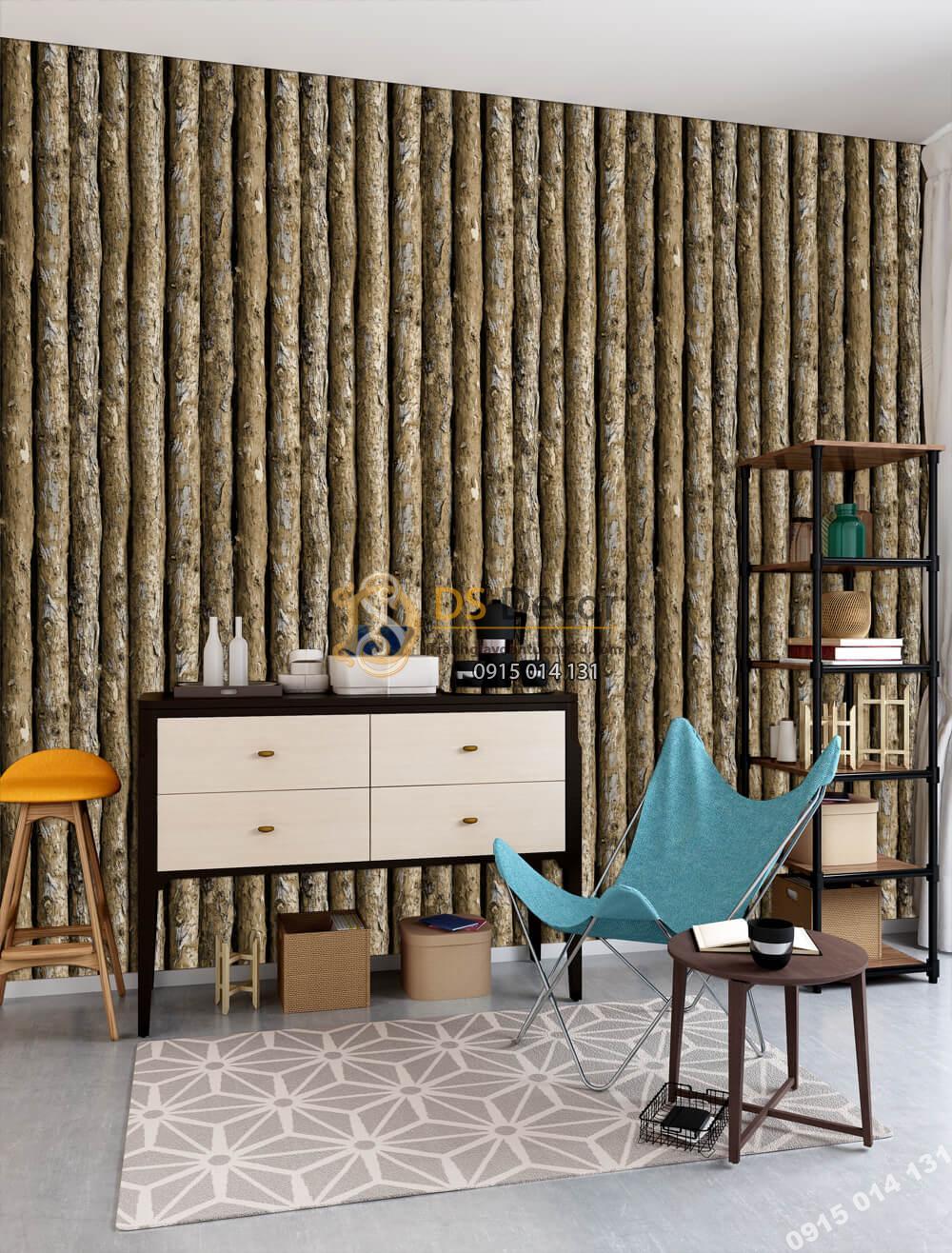 Giấy dán tường Hàn QUốc NATURE thân gỗ dọc 73014-3