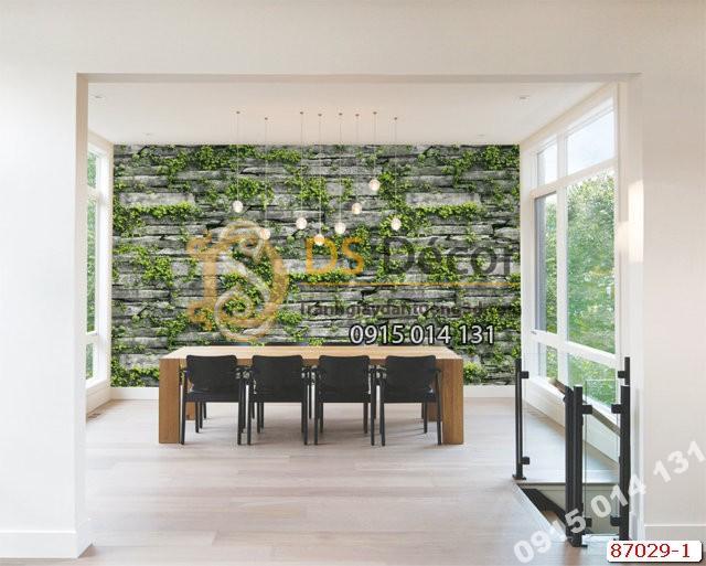 Giấy dán tường giả đá rêu xanh ghi Hàn Quốc NATURAL 87029-1