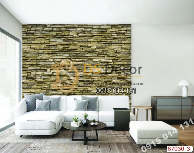 Giấy dán tường giả đá rêu xanh ghi Hàn Quốc NATURAL 87030-3