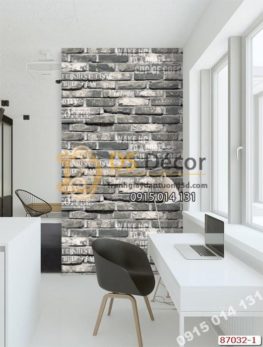 Giấy dán tường giả gạch xám đen Hàn Quốc NATURAL 87032-1