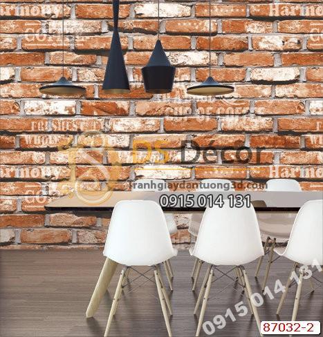 Giấy dán tường giả gạch cam chữ Hàn Quốc NATURAL 87032-2