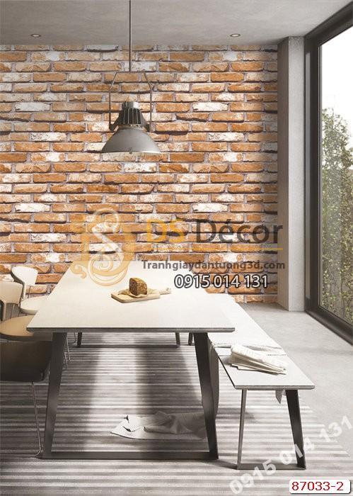 Giấy dán tường giả gạch cam Hàn Quốc NATURAL 87033-2