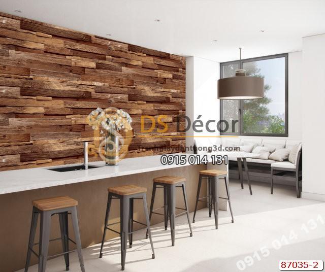 Giấy dán tường gỗ thẻ nâu Hàn Quốc NATURAL 87035-2