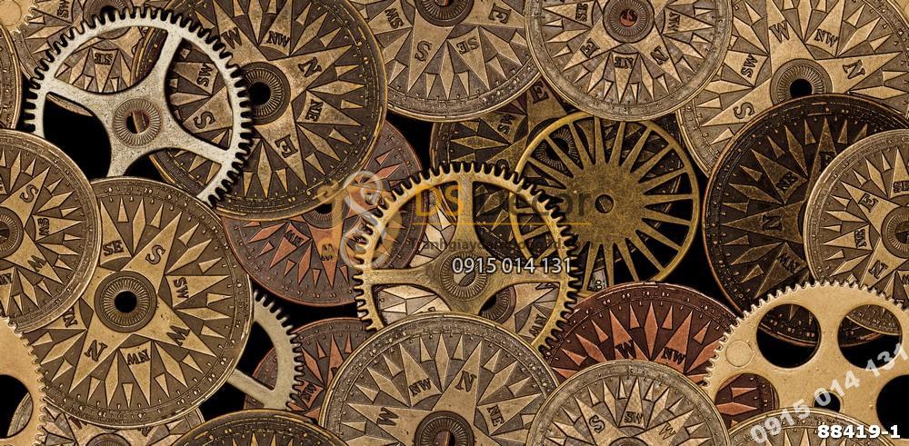 Bề mặt Giấy dán tường Hàn Quốc Natural họa tiết bánh răng 88419-1 Factory