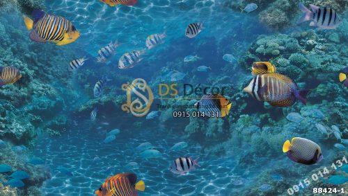 Bề mặt Giấy dán tường Hàn Quốc Natural đại dương cá 88424-1 Maldives