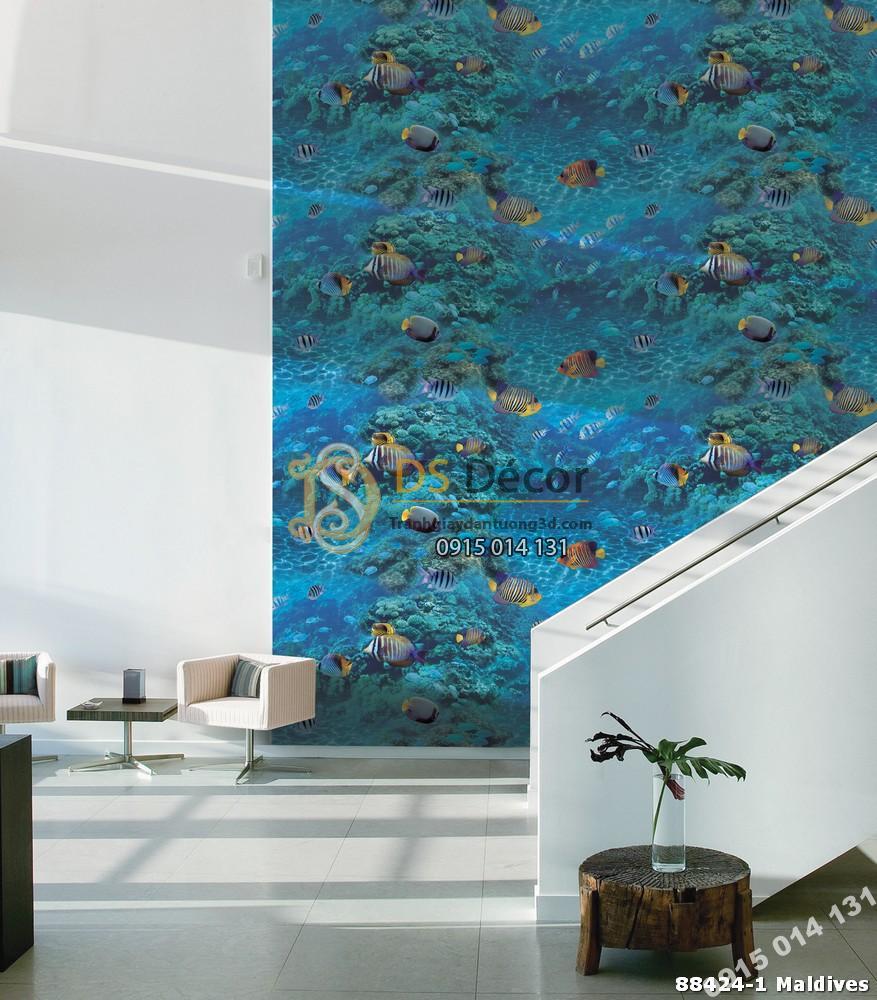 Giấy dán tường Hàn Quốc Natural đại dương cá 88424-1 Maldives
