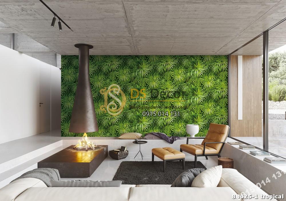 Giấy dán tường Hàn Quốc Natural lá cây tropical 88425-1 tropical