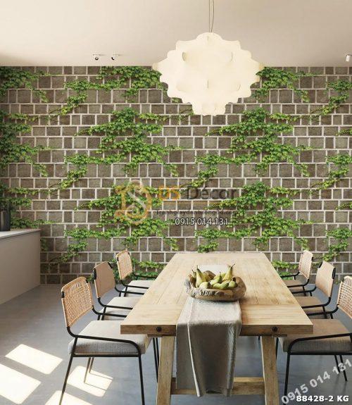 Quán ăn dán Giấy dán tường Hàn Quốc Natural tường gạch dây leo 88428-2 KG
