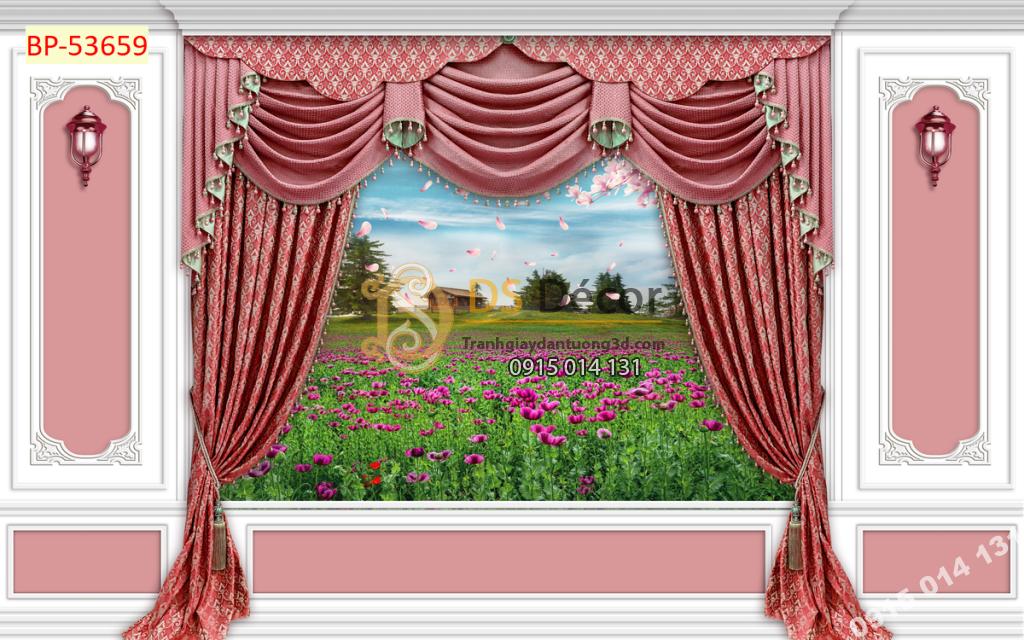 Tranh dán tường giả rèm Châu Âu màu hồng