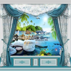 Tranh dán tường giả rèm cảnh biển
